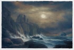 083. Moonlit, A View of Tantallon Castle with The Bass Rock - Homage to Alexander Naysmith