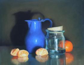 024. Blue Pitcher with Clementines